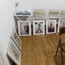 Preparing the frames for the 'Pin-up Girls!' Exhibition