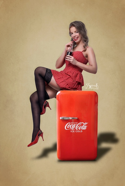Coca-Cola pinup with Angelina